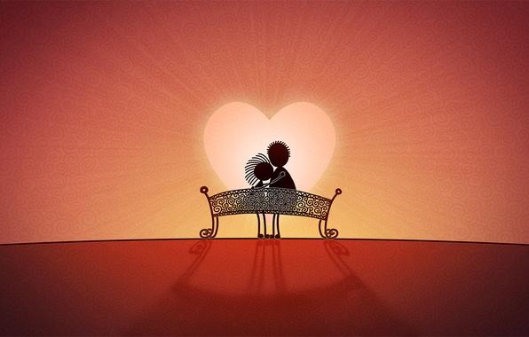 Love любовь скамейка сердце обои фото
