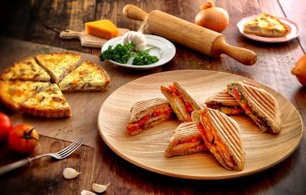 Картинка зелень, овощи, пицца, pizza, бутерброды, sandwiches, vegetables, fresh herbs