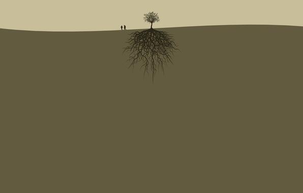 Картинка корни, люди, дерево, земля, пара, двое