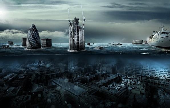Картинка вода, город, лондон, наводнение