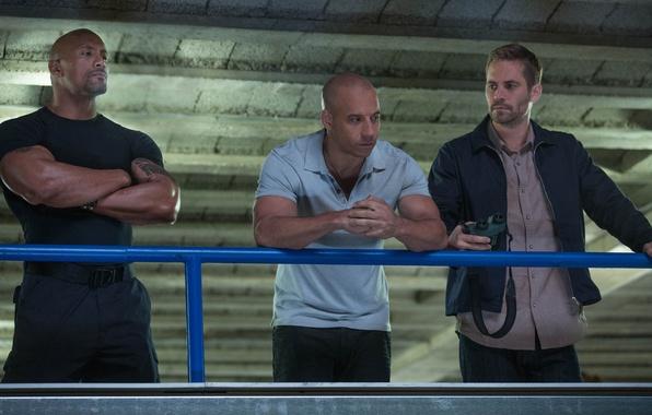 Картинка Вин Дизель, Пол Уокер, Дуэйн Джонсон, Vin Diesel, Paul Walker, Dwayne Johnson, Dominic Toretto, Brian ...