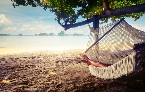Картинка sand, hammock, resting, relaxing