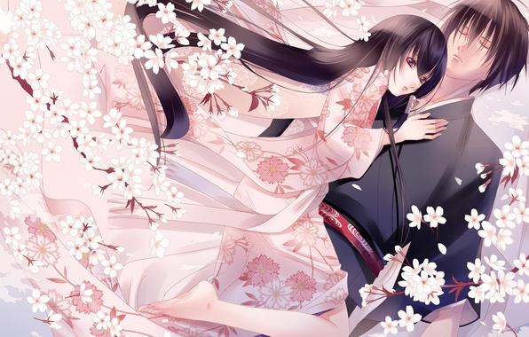 Картинка любовь, цветы, настроение, нежность, япония, весна, аниме, сакура, кимоно, двое, fuuchouin kazuki