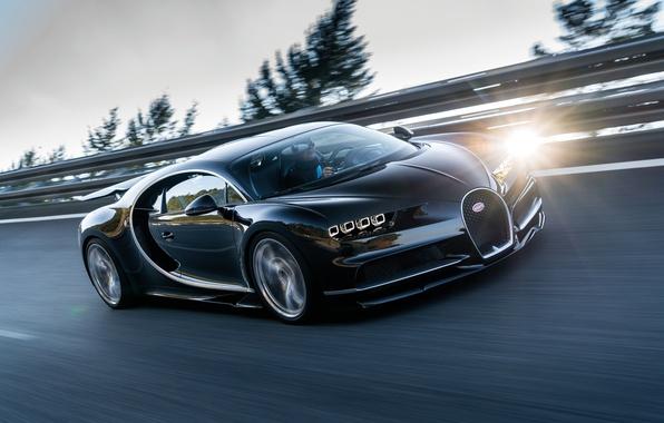 Картинка движение, скорость, трасса, Bugatti, водитель, 2016, Chiron
