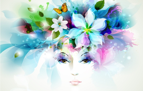Картинка взгляд, листья, девушка, цветы, брызги, бабочка, лепестки