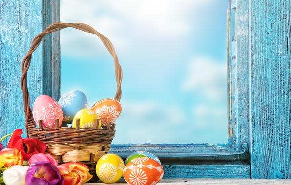 Картинка цветы, яйца, весна, окно, Пасха, тюльпаны, flowers, tulips, spring, Easter, eggs, decoration, basket, Happy