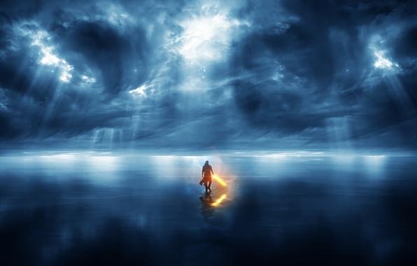 Картинка море, небо, вода, облака, свет, отражение, войн, light, sky, sea, water, 1920x1200, clouds, reflection, warrior