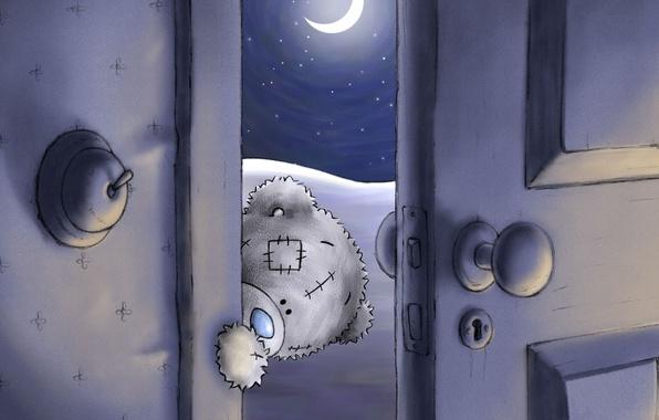 Картинка ночь, луна, дверь, мишка, тедди