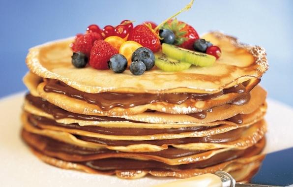 Картинка ягоды, еда, киви, клубника, фрукты, блины, десерт, масленица, начинка