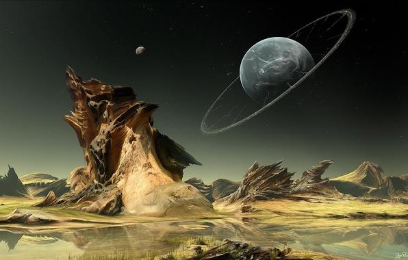 Картинка вода, звезды, озеро, скалы, ландшафт, планета, кольца, арт
