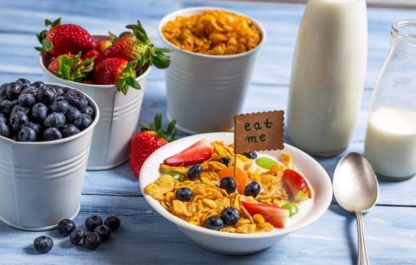 Картинка ягоды, завтрак, молоко, черника, клубника, хлопья, strawberry, blueberry, breakfast, milk