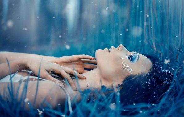 Картинка холод, девушка, снег, макияж, мороз, Alessandro Di Cicco, Eywa