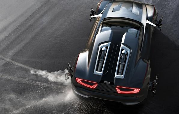 Картинка Concept, чёрный, цвет, Ford, занос, спорткар, диски, колёса