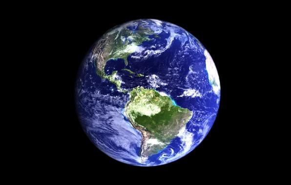 Картинка космос, поверхность, планета, Земля, материки, океаны