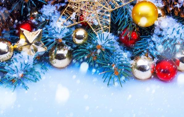 Картинка Рождество, Новый год, Ёлка, Новогодние игрушки