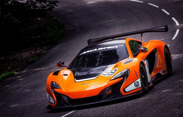 Картинка McLaren, Машина, Асфальт, Оранжевый, Капот, GT3, Суперкар, Передок, Спорткар, В движении, 650S