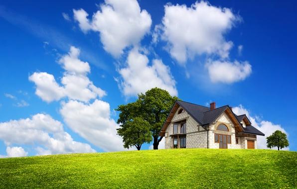 Картинка зелень, поле, небо, трава, облака, деревья, дом, голубое, особняк