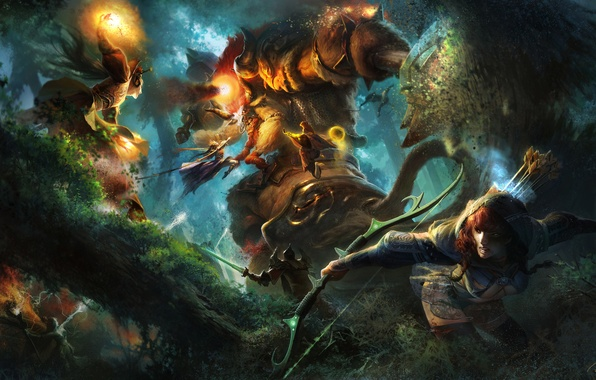 Картинка лес, девушка, огонь, магия, монстр, воин, лучница, фэнтези, арт, маг, битва, гигантский