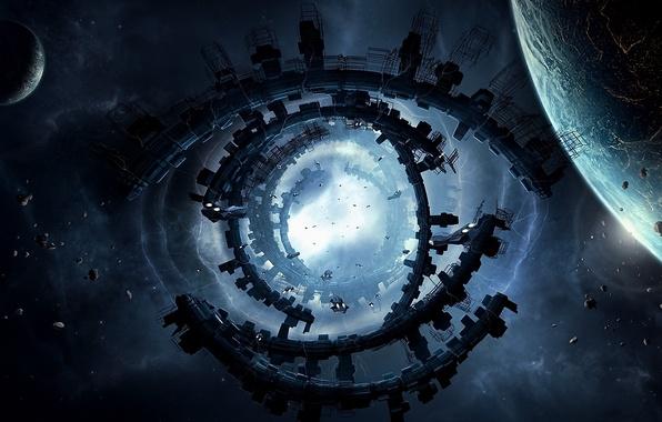 Картинка энергия, космос, планета, корабли, сооружение, арт, врата