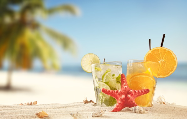 Картинка песок, море, пляж, лето, солнце, отдых, апельсин, лайм, ракушки, summer, beach, коктейли, drink, vacation, tropical
