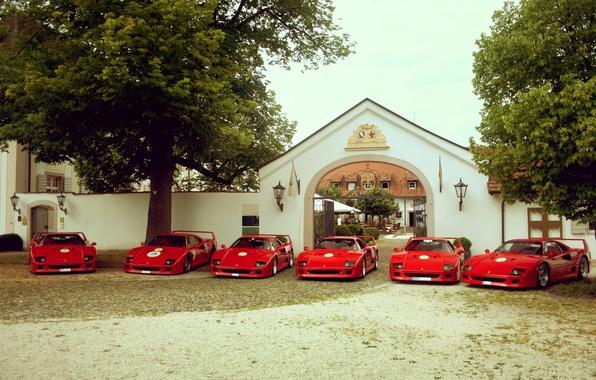Картинка деревья, красный, дом, Ferrari, red, house, grass, феррари, врата, tree, f40, ф40, gate
