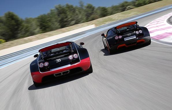 Картинка Roadster, Бугатти, Bugatti, Вейрон, Veyron, суперкар, вид сзади, гоночный трек, and, Grand Sport, Vitesse, WRC …