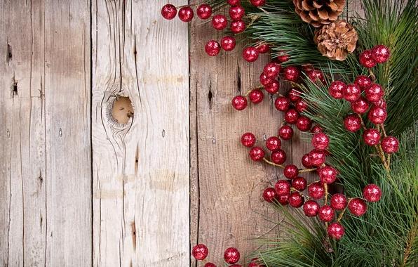Картинка дерево, доски, ветка, Новый Год, Рождество, украшение, шишки, сосна, остролист, падуб