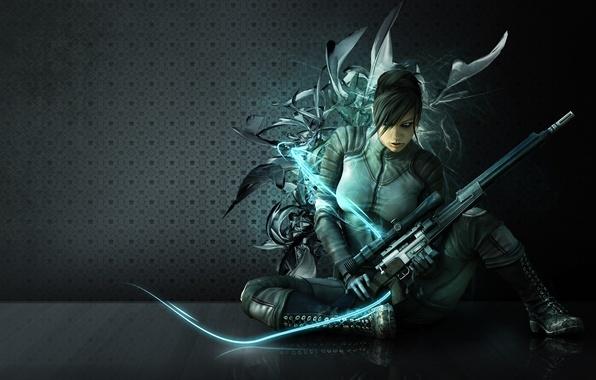 Картинка girl, gun, sexy, game, wanted, long hair, weapon, beautiful, sniper, eye, assassin, pose, rifle, pretty …
