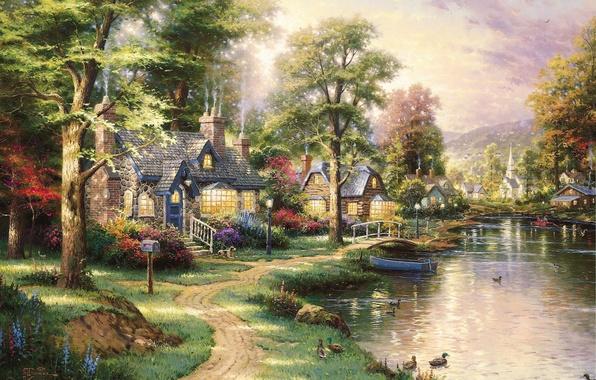Картинка пейзаж, озеро, лодка, утки, картина, домики, живопись, мостик, тропинка, красивый, art, Thomas Kinkade, Hometown Lake