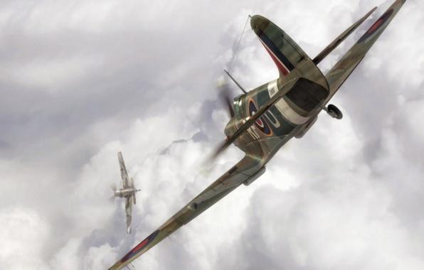 Картинка aircraft, war, spitfire, airplane, painting, aviation, artwork, concept art, drawing, ww2, dogfight, bf 109