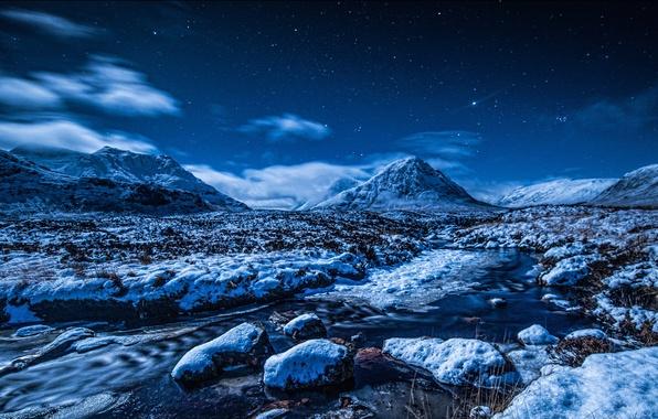 Картинка зима, небо, звезды, снег, горы, ночь, ручей