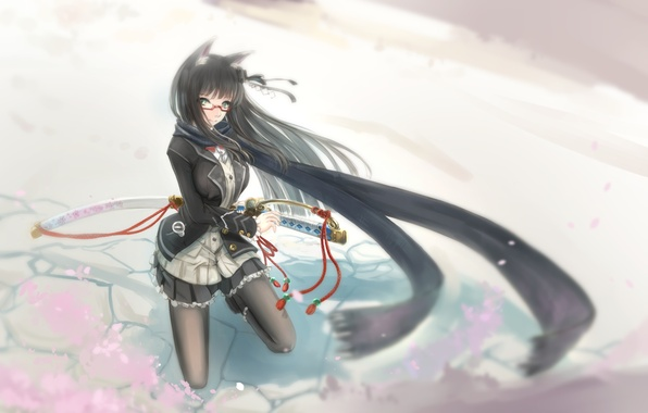 Картинка девушка, оружие, катана, аниме, шарф, арт, ушки, kikivi
