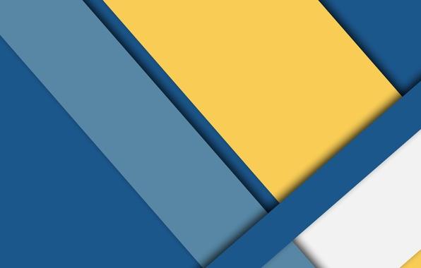 Картинка белый, линии, синий, желтый, голубой, wallpaper, геометрия, color, material, desing