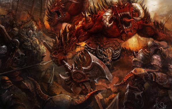 Картинка оружие, фантастика, монстр, доспехи, арт, пасть, рога, воины, демоны