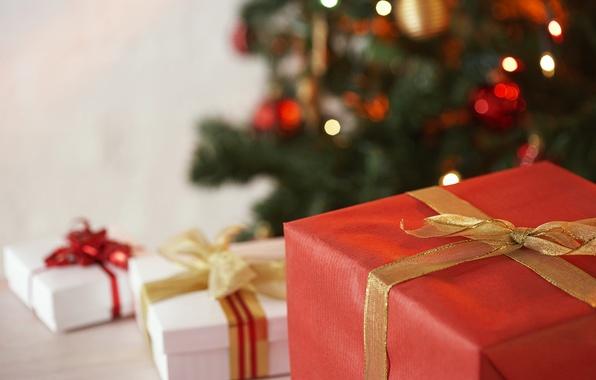 Картинка макро, ленты, праздник, новый год, подарки, new year, коробки, банты