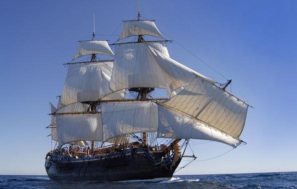 Картинка море, океан, корабль, парусник