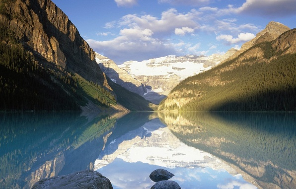 Картинка облака, горы, озеро, отражение, Канада, Альберта, Банфф Парк