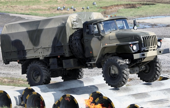 Картинка фон, грузовик, военный, передок, Урал, испытание, 43206, Ural