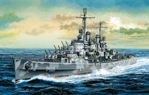 Картинка легкий, корабль, арт, США, флот, строй, крейсер, ВМС, Сан-Диего, Атланта, тип, WW2., легких, флота, типа, …