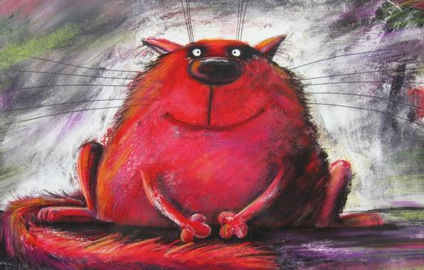 Картинка кот, красный, живопись
