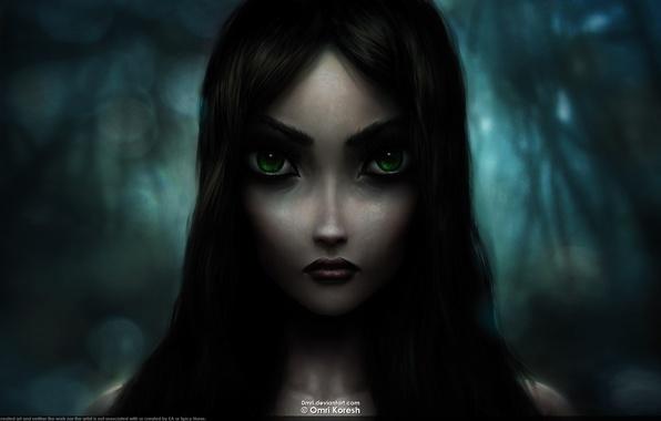 Картинка взгляд, madness, черные волосы, зеленые глаза, Alice, returns