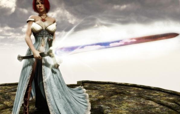 Картинка небо, девушка, магия, меч, арт, рыжая