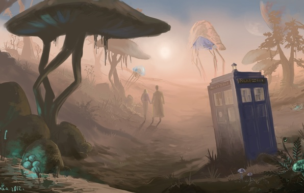 Картинка арт, Doctor Who, art, Доктор Кто, ТАРДИС, The Elder Scrolls, Morrowind, TARDIS, Морровинд