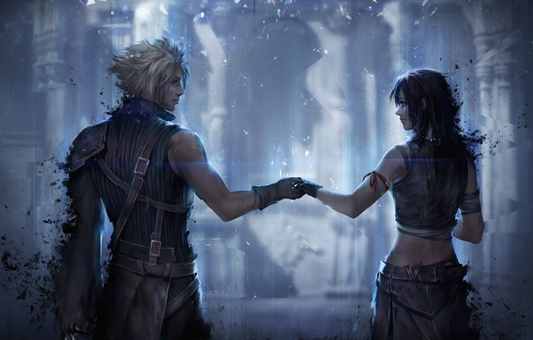 Картинка девушка, парень, ff7, cloud strife, art, tifa lockhart, final fantasy 7