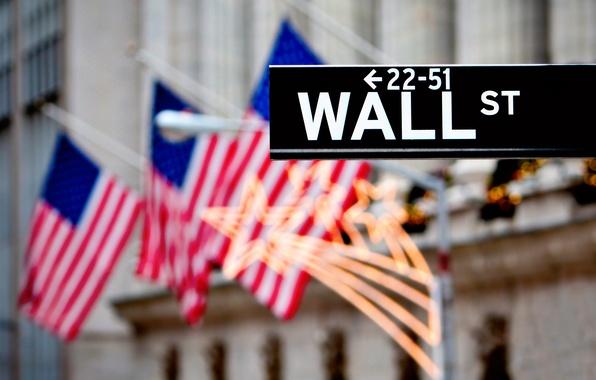 Картинка city, город, lights, огни, страны, улица, деньги, размытие, символы, знаки, указатель, Манхеттен, флаги, америка, нью-йорк, ...