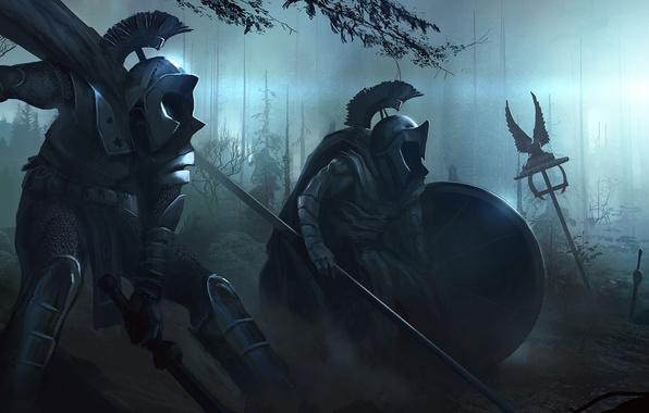 Картинка лес, ночь, оружие, тьма, доспехи, войны, арт, мечи, копья, орудия