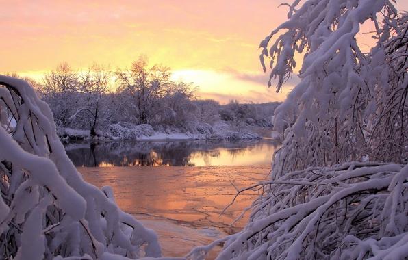 Картинка зима, снег, закат, река
