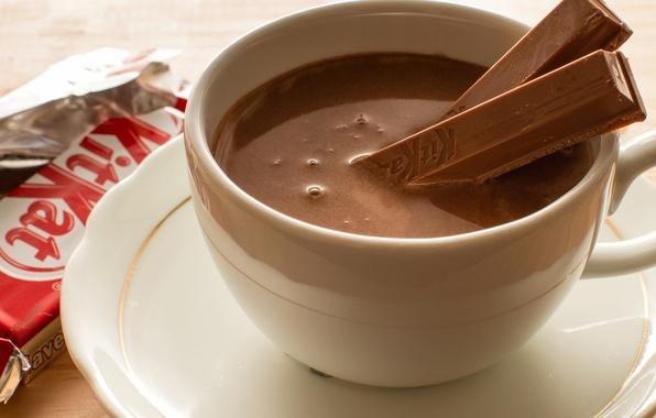 Картинка шоколад, палочки, чашка, напиток, десерт, KitKat