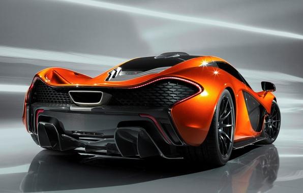 Картинка Concept, оранжевый, фон, McLaren, концепт, суперкар, вид сзади, МакЛарен
