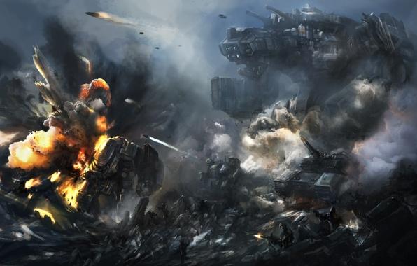 Картинка скалы, робот, взрывы, арт, солдаты, битва, гигантский